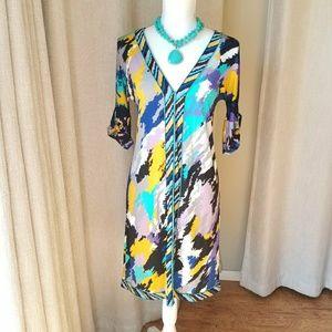 BCBG V-Neck Multi-colored Dress Size XS